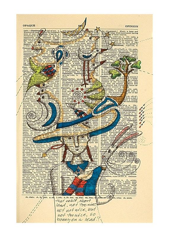 Rabitt on a short lead, a pen and ink drawing by Mariann Johansen-Ellis