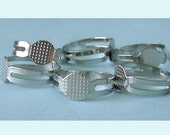 20 Pieces of Silver Color Blank Adjustable Rings with Pad
