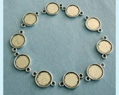 10 Pieces Of  Antiqued Silver Double Side Round Bezel  With 2 Loops For 10mm Cabochon