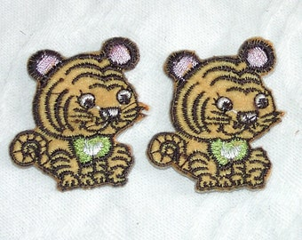 3 Pieces of Embroidered  Brown  Baby Tiger Iron On Patches