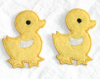 4 Pieces of Embroidered  Yellow Ducky Iron On Patches
