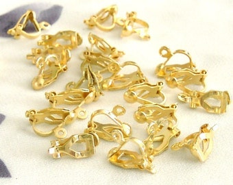 20 Pieces of Gold Tone Clip On Earring Findings