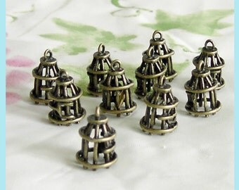 10 Pieces of Antiqued Brass Bird Cage  Charms