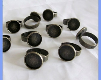 10 Pieces of Antiqued Brass Adjustable Blank Ring 16mm Bezel Base For 14mm Cabochon