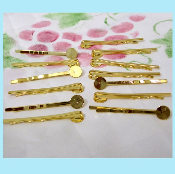 20 Pieces of Gold Tone Bobby Pins with 8mm Pad