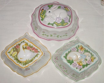 Vintage Easter Decor -  Set of 3 Hand Painted  Bunny, Lamb, Chicks, Le Cordon Bleu Ceramic Dessert Molds - Kitchen Wall Hanging
