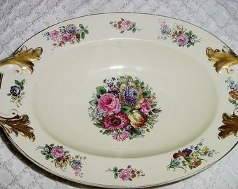 Vintage Bavaria Porcelain  Floral Handled Bowl with Gold Trim - Use as Casserole, Fruit, Vegetable Serving Dish In a Shabby Cottage Style