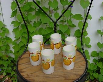 Vintage Orange Juice Glasses, Cottage Kitchen Decor, Shabby Chic Small Juice Tumblers, 1950s Decor, RV Whimsy 60s Kitchy