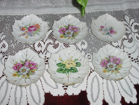 Set of 6 Vintage White Porcelain, Transferware, Floral Design, Side Plates for Tea Party or Dessert Plate, Shabby Chic Cottage Style
