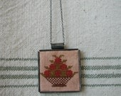 Cross Stitch Tin Pendant Necklace - Berry Basket Motif