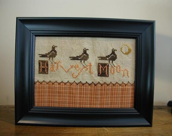 Primitive Cross Stitch Pattern Harvest Moon