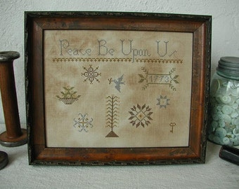 Primitive Cross Stitch Pattern - Peace Be Upon Us