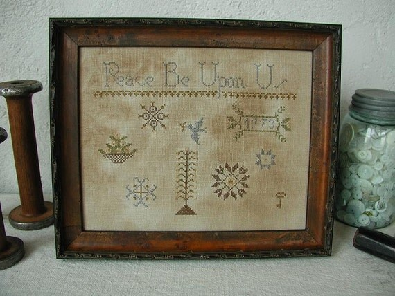 Primitive Cross Stitch Pattern - Peace Be Upon Us