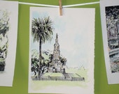 Forsyth Park Confederate Monument Savannah Watercolor