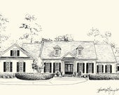 Custom House Portrait Pen and Ink Architectural Drawing of Your Home or Garden - 8x10 or 11x14 inches