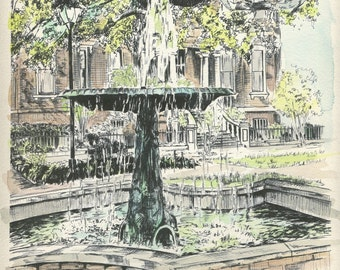 Savannah Watercolor Painting Columbia Square Fountain