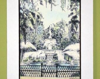 Savannah Watercolor Print - Forsyth Park Fountain