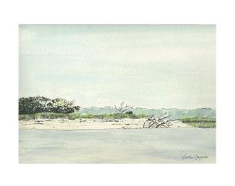 Coastal Georgia Seascape Watercolor Fine Art Print