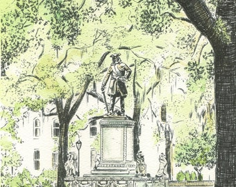 Chippewa Square - Hand Watercolored Savannah Print