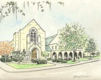 First Presbyterian Church of Savannah Watercolor Print by Heather L Young