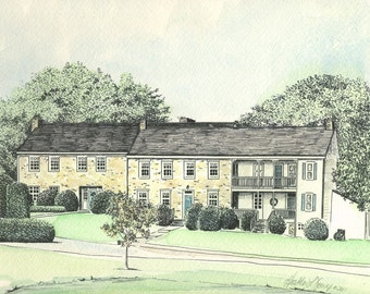 Stone Manor Country Club Drawing Watercolor Painting