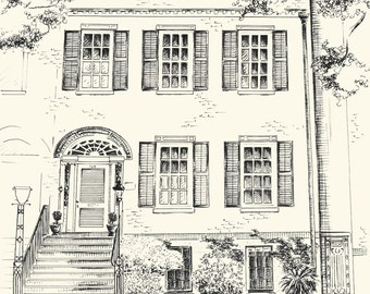 Custom Pen and Ink Architectural Drawing of your House or Home - 8x10 or 11x14 inches