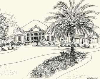 Custom Pen and Ink Architectural Sketch of Your Home or Garden