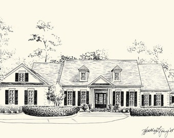 Custom House Portrait Pen And Ink Architectural Drawing Of Your Home Or Garden 8x10 Or