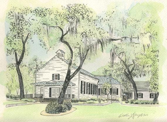 Isle of Hope Methodist Church Savannah Watercolor Painting