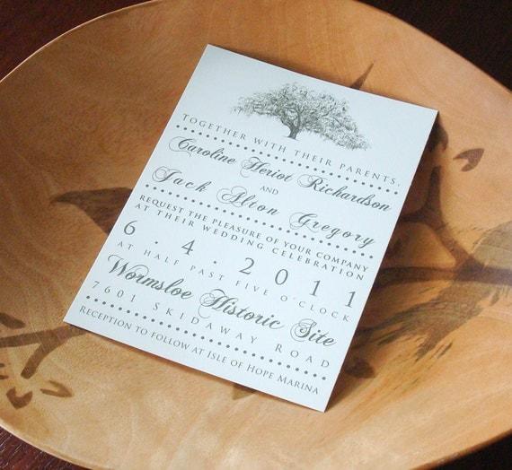 Custom Wedding Accessories Savannah Live Oak Thumbprint: Savannah Live Oak Tree Wedding Invitations