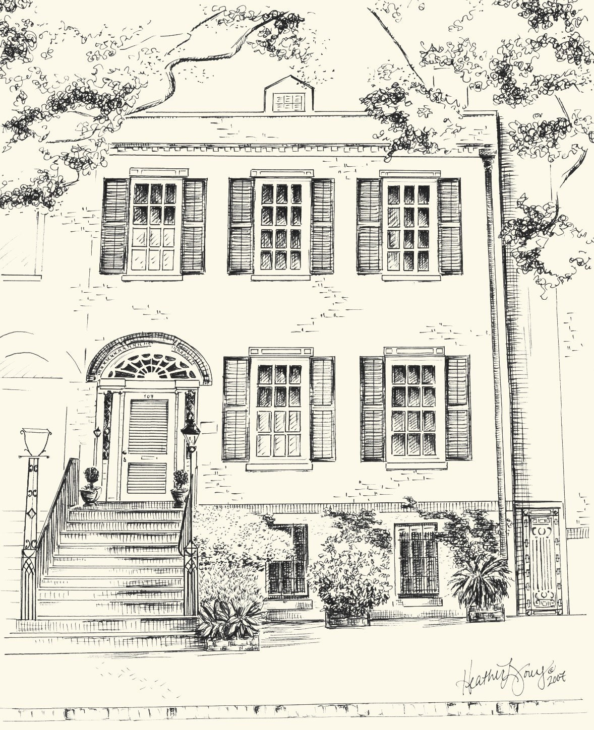 Custom pen and ink architectural drawing of your house or home for Architecture house drawing
