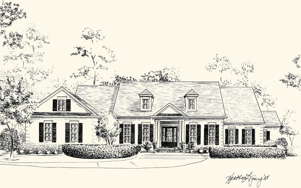 Custom house portrait pen and ink architectural drawing of Draw your house