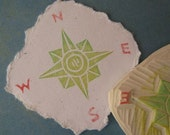 Compass rubber Stamp Hand Carved