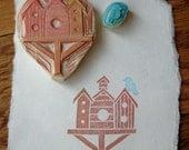 Hand Carved Bird House Stamp set