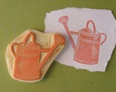 Hand Carved Watering Can Stamp