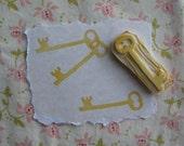 Skeleton Key Rubber Stamp Hand Carved