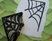 Spider Web Rubber Stamp Hand Carved