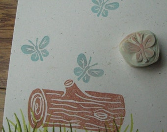 Tiny Butterfly Rubber Stamp Hand Carved