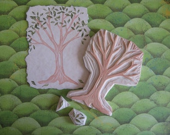 Hand Carved Tree with Leaves Stamp Set