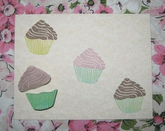 Hand Carved cupcake stamp