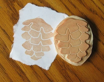 Hand Carved Pine Cone Stamp