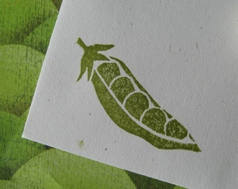 Peas in a Pod Rubber Stamp Hand Carved