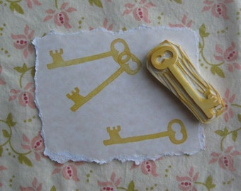 Skeleton Key Rubber Stamp Hand Carved