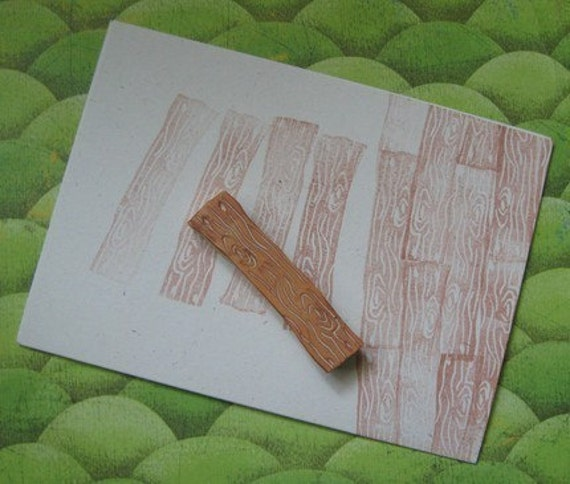 Hand Carved Wood Plank Stamp