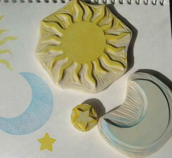 Hand Carved Sun Moon and Star Stamp Set
