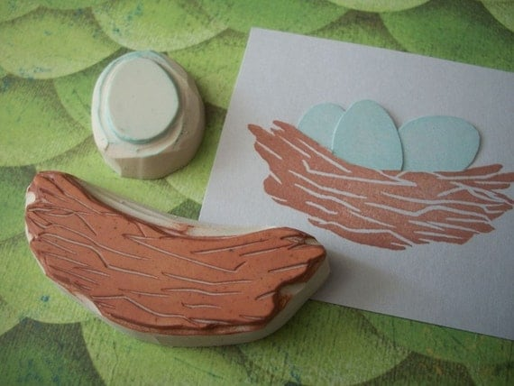 Egg and Nest Hand Carved Stamp