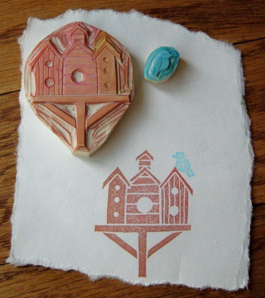 Hand carved bird house stamp set