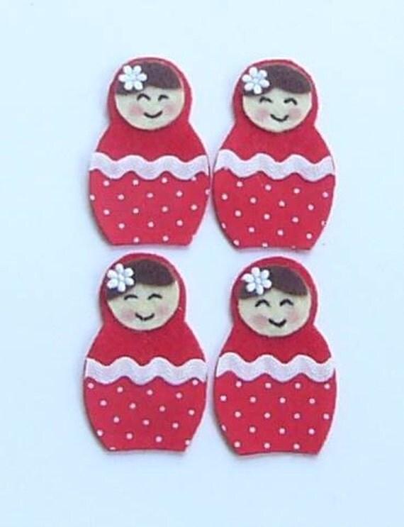 Red Felt and fabric  Babushka dolls (polkadots)