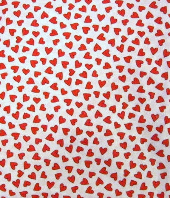 Heart Print Cotton Fabric - 2 yards - Red and White
