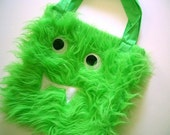Green Fuzzy Monster Tote for Halloween Extravaganza Fun